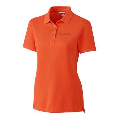 Virginia Tech Cutter And Buck Women's Advantage DryTec Polo COLLEGE_ORANGE