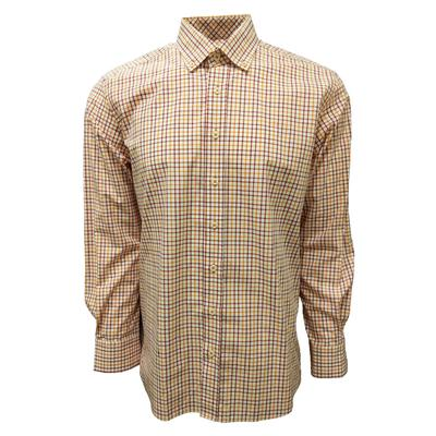 Maroon & Orange Box Plaid Dress Shirt
