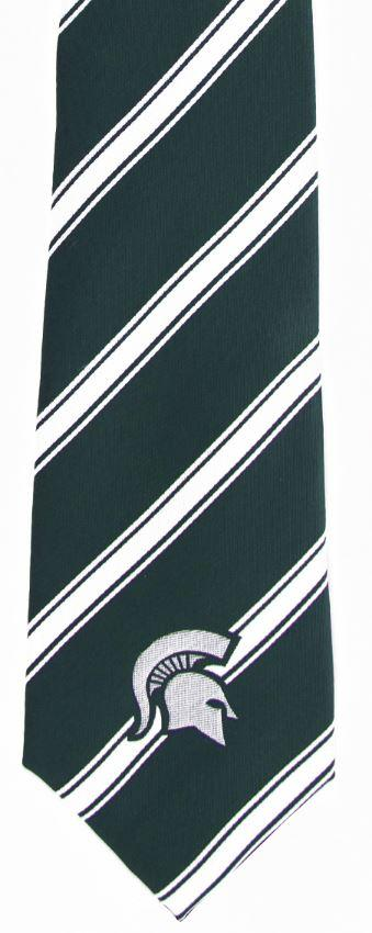 Michigan State Woven Polyester Stripe Tie