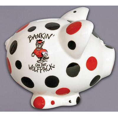 NC State Polka Dot Piggy Bank