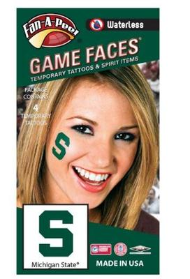 Michigan State S Face Tattoo (4 Pack)
