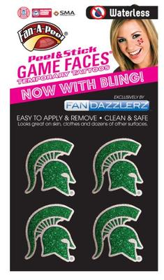 Michigan State Dazzler Face Tattoo (4 Pack)
