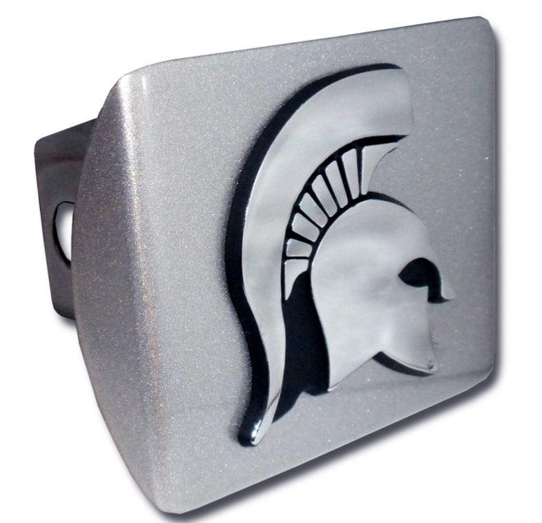 Michigan State Brushed Chrome Hitch Cover