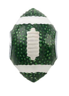 Green and White 3D Football Bead