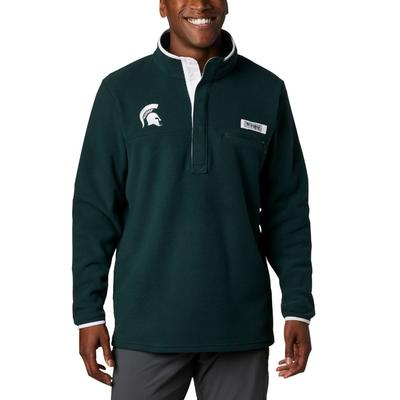 Michigan State Columbia Harborside Fleece Pullover SPRUCE