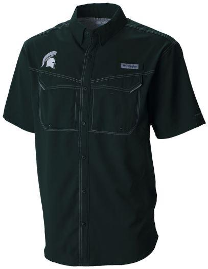 Michigan State Columbia Low Drag Off Shore Short Sleeve Woven Shirt