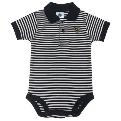 West Virginia Infant Striped Polo Body Suit
