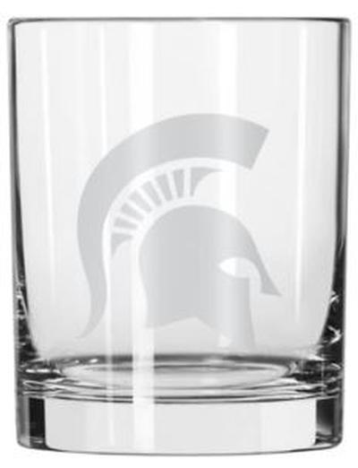 Michigan State 14oz Satin Etched Rocks Glass