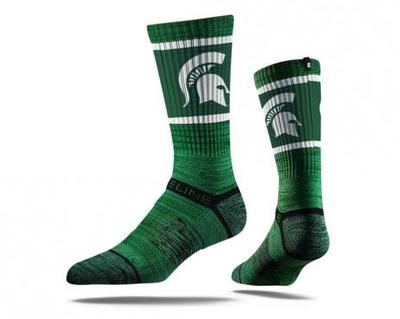 Michigan State Strideline Sparty Green Crew Sock