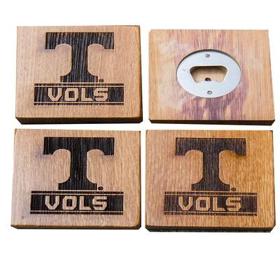 Tennessee Timeless Etchings Vols Coasters w/ Bottle Openers