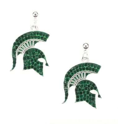 Michigan State Rhinestone Logo Earrings
