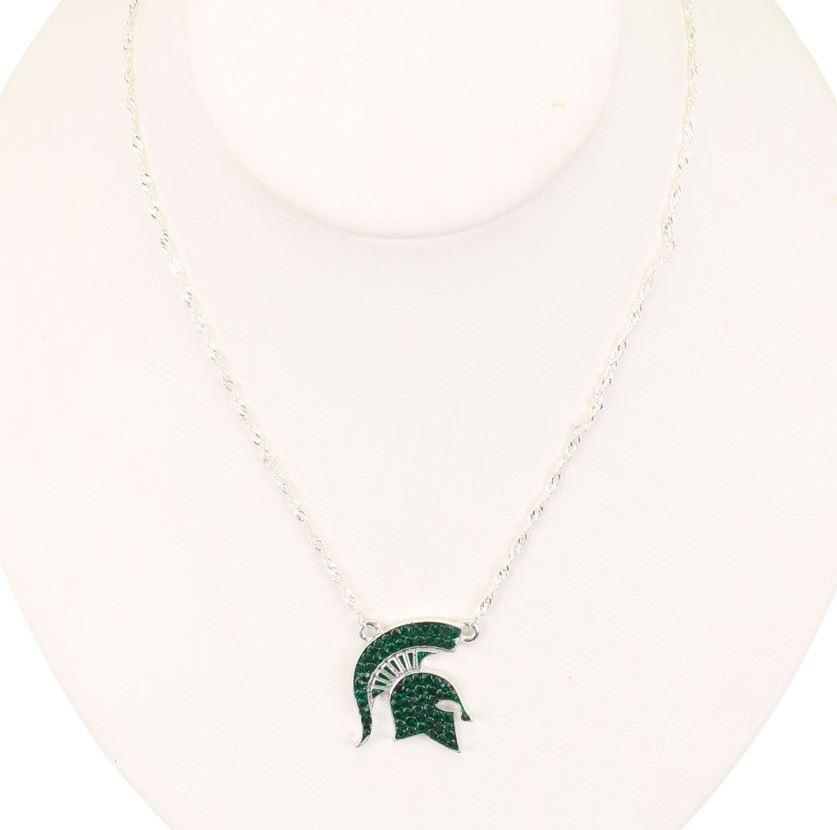 Michigan State Rhinestone Spartan Necklace