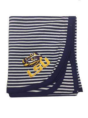 LSU Infant Striped Knit Blanket