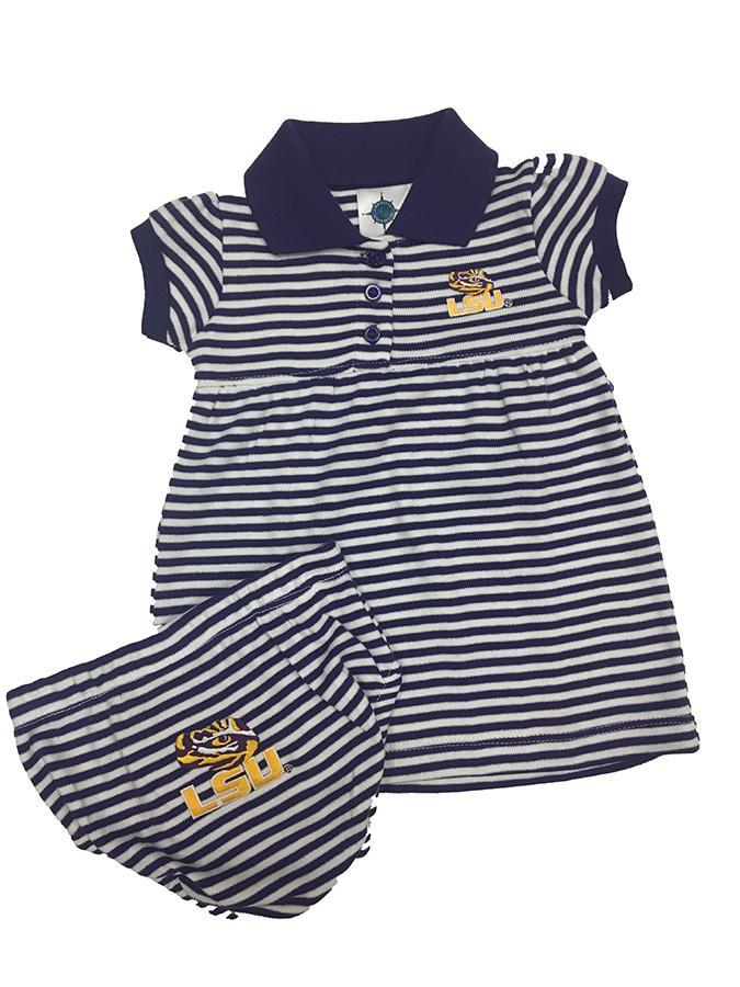 Lsu Infant Striped Dress W/Bloomer