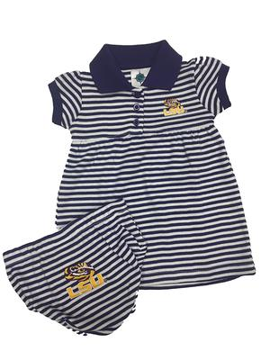 LSU Infant Striped Dress w/ Bloomer