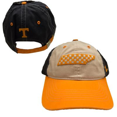 Tennessee Checkerboard State Outline Adjustable Hat