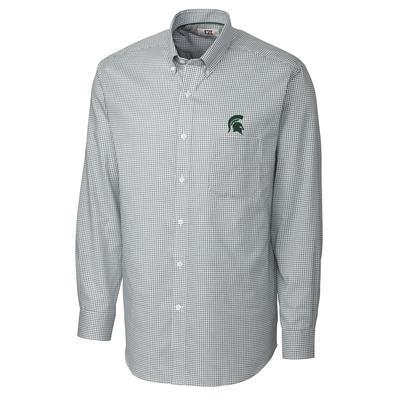 Michigan State Cutter And Buck Tattersall Woven Dress Shirt