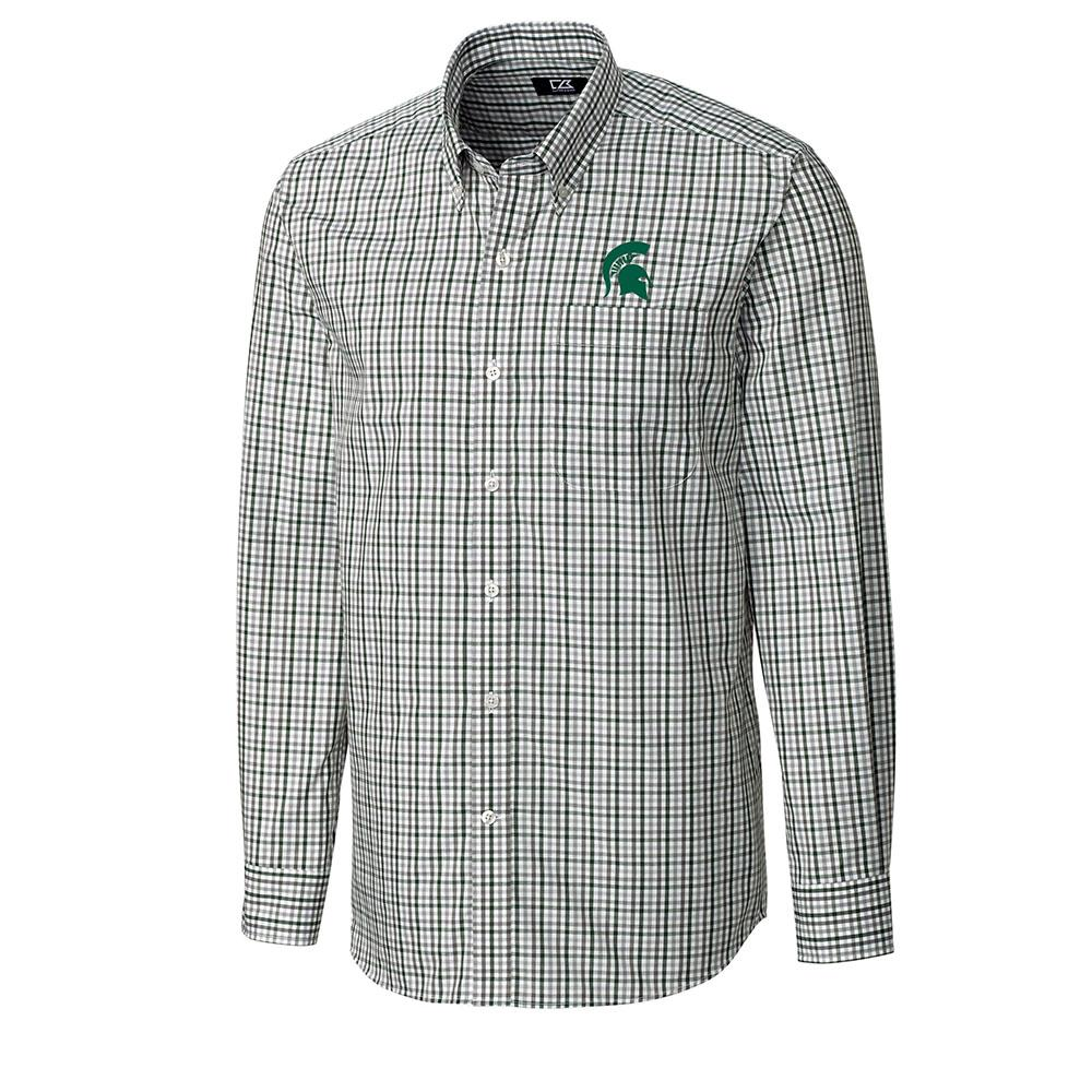 Michigan State Cutter And Buck Gilman Plaid Woven