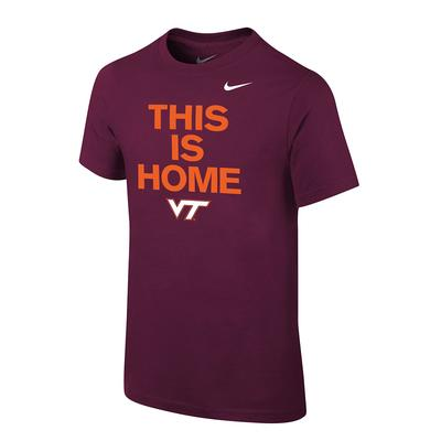 Virginia Tech Nike Youth This Is Home Cotton Tee
