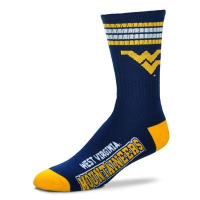 West Virginia 4 Stripe Deuce Socks