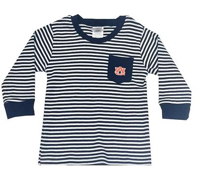 Auburn Toddler Striped Long Sleeve Pocket Tee