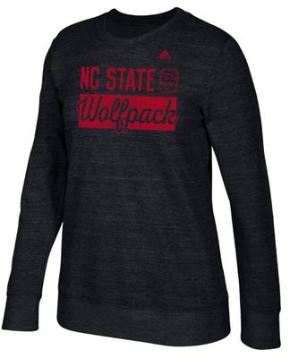 NC State Adidas Stacked Bar Script Comfy Crew Sweater