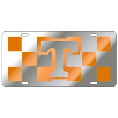 Tennessee Silver and Orange Power T Checkered License Plate