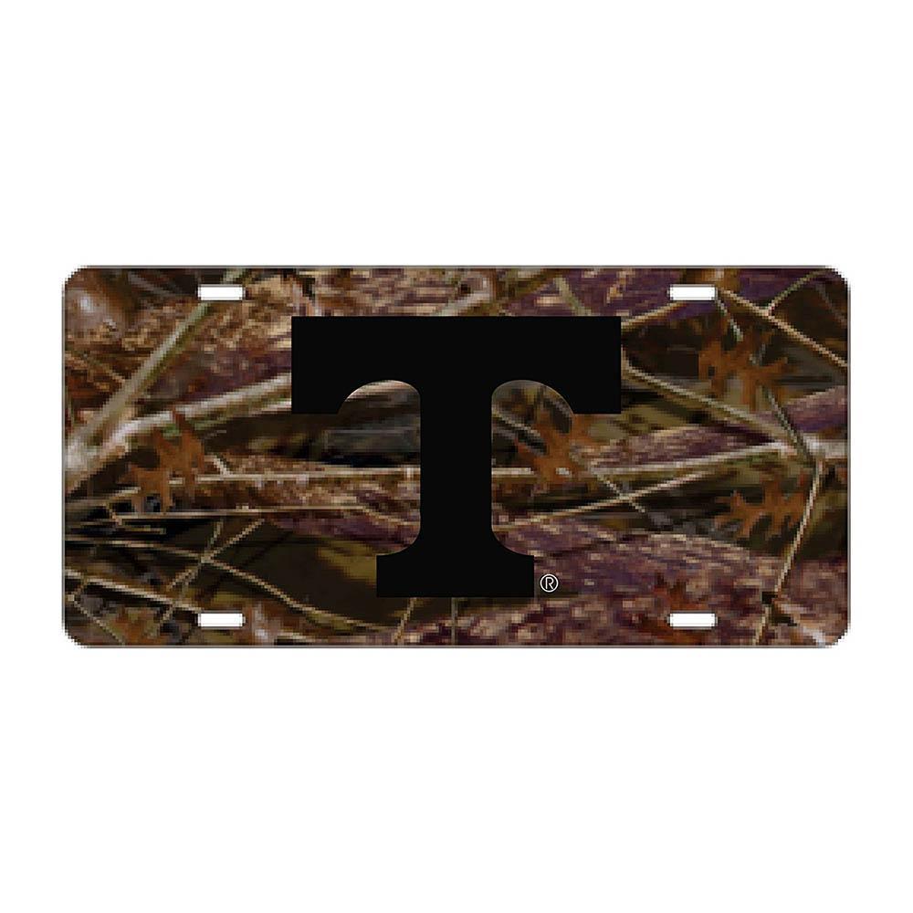 Vols- Tennessee Power T Camo and Black License Plate- Alumni