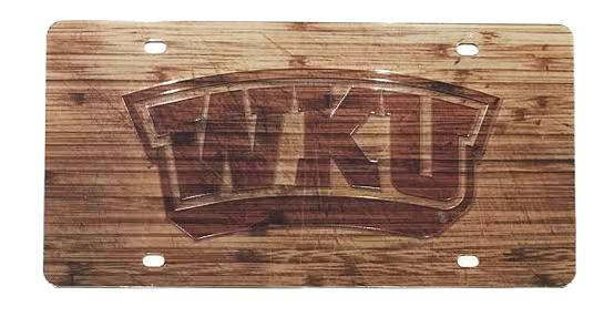 Western Kentucky Wood Grain License Plate