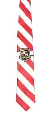 Red and White Thick Stripe Tie