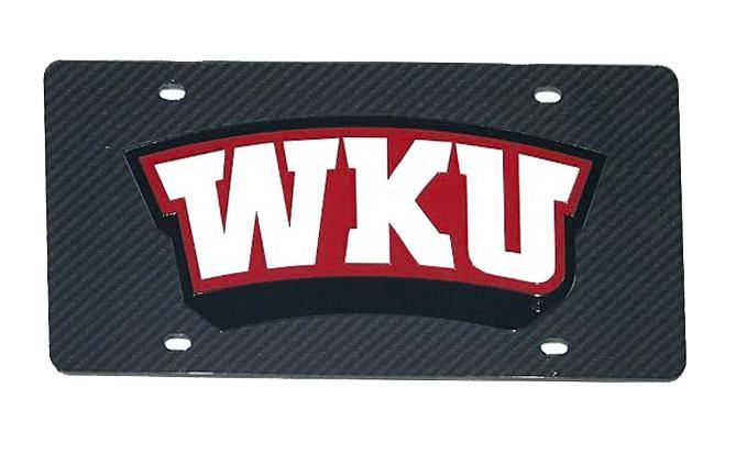 Western Kentucky Logo Carbon Fiber License Plate
