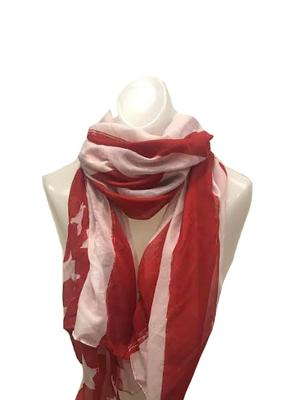 Red and White American Flag Scarf