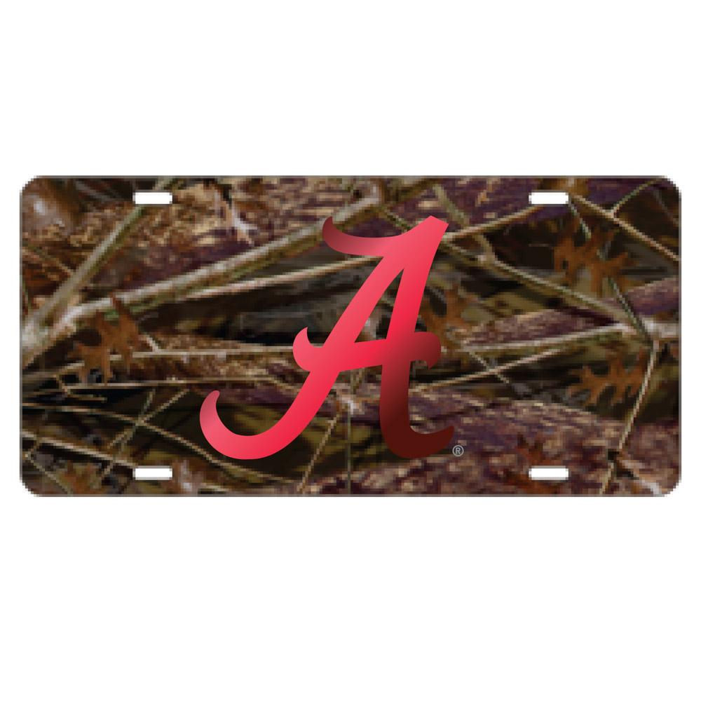 Alabama License Plate Camo/Red Script A