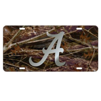 Alabama License Plate Camo/Silver Script A