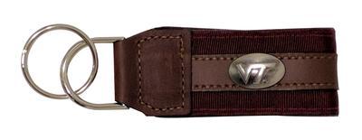 Virginia Tech Leather Conco Keychain