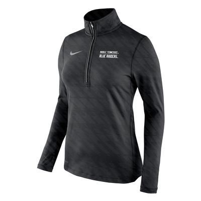 MTSU Nike Women's Element Embossed 1/2 Zip Pullover BLACK
