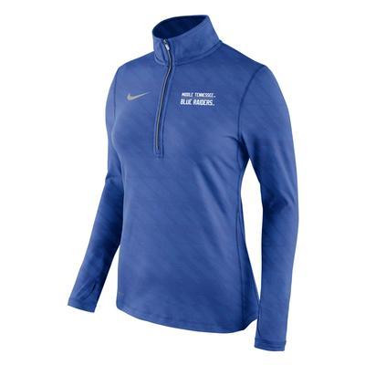 MTSU Nike Women's Element Embossed 1/2 Zip Pullover ROYAL