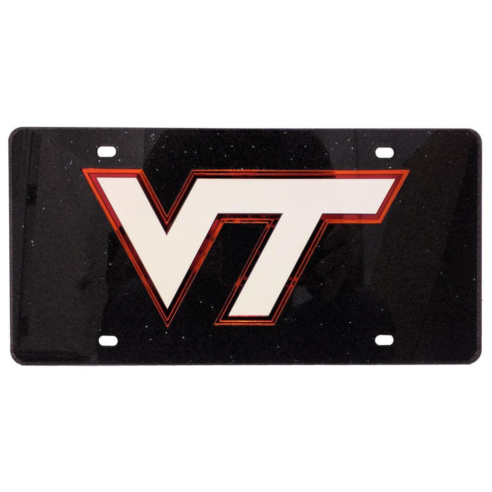 Virginia Tech Dark Silver Glitter License Plate