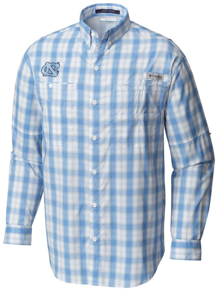Unc Columbia Long Sleeve Super Tamiami Woven Shirt
