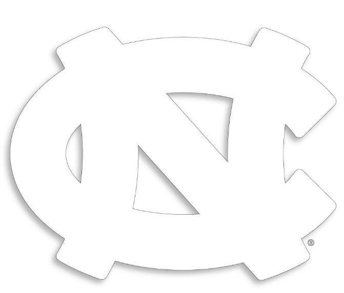 "north carolina tar heels coloring pages | UNC -UNC Interlock White Logo 3"" Decal - Alumni Hall"