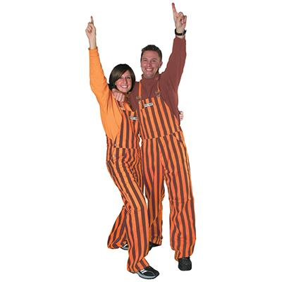 Orange and Maroon Adult Game Bibs Striped Overalls