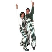Green And White Adult Game Bibs Striped Overalls
