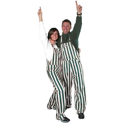 Michigan State Adult Game Bibs Striped Overalls