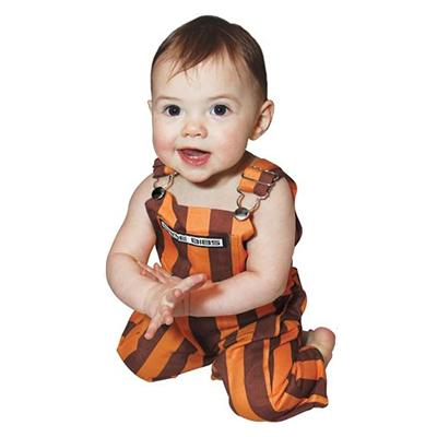 Maroon and Orange Infant Game Bibs Striped Overalls