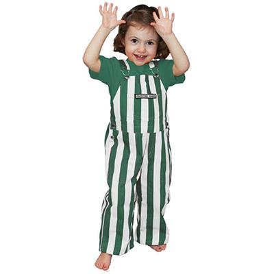 Green And White Toddler Game Bibs Striped Overalls