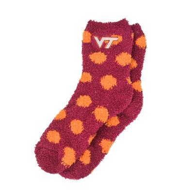 Virginia Tech Fuzzy Dot Socks