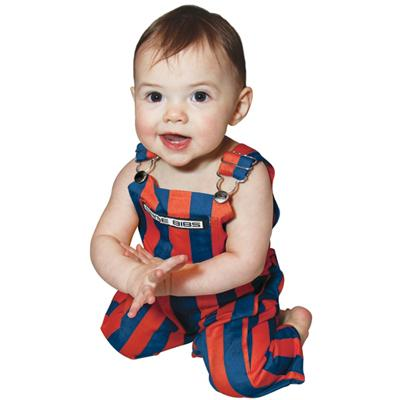 Royal And Orange Infant Game Bibs Striped Overalls