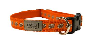 Jazzy J 3/4in Orange Football Pet Collar