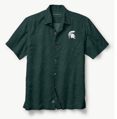 Michigan State Tommy Bahama Luau Floral Core Camp Shirt