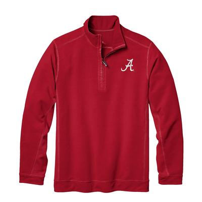 Alabama Tommy Bahama Ben & Terry Coast Core Half Zip Pullover CHILI_PEPPER